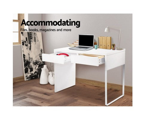 Metal Desk with 2 Drawers - White