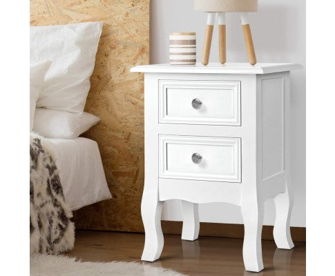 Bedside Tables Drawers Side Table French Storage Cabinet Nightstand Lamp