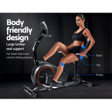 Magnetic Recumbent Exercise Bike Fitness Trainer Home Gym Equipment Black