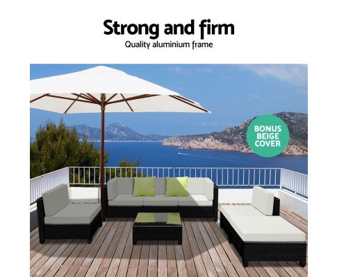 7 Piece Sofa Set Outdoor Furniture Lounge Setting Wicker Couches Garden Patio Pool