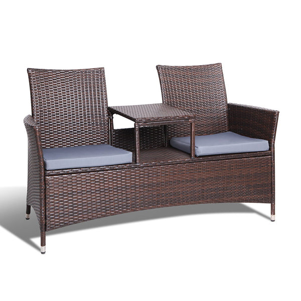 2 Seater Set Bench Brown
