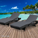 Outdoor Sun Lounge Chair with Cushion - Black