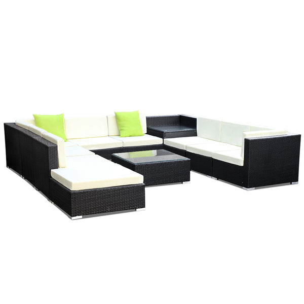 11PCS Sofa Set with Storage Cover Outdoor Furniture Wicker