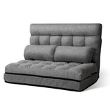 Lounge Sofa Bed Double Floor Folding Fabric Grey