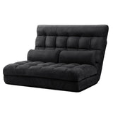 Lounge Sofa Bed 2-seater Floor Folding Suede Charcoal