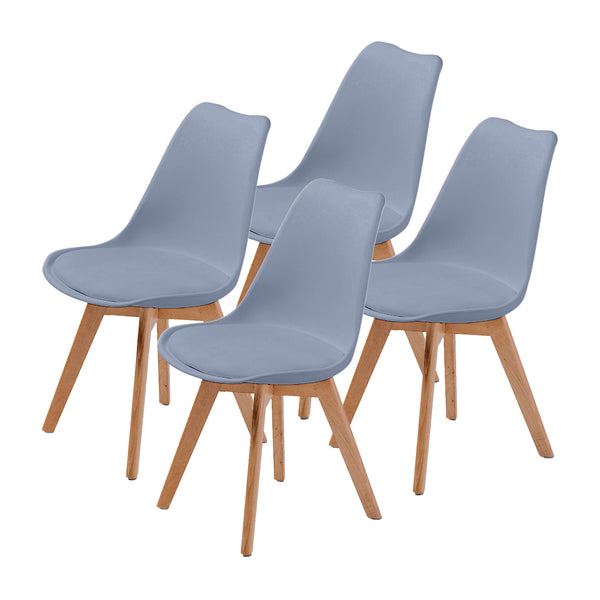 Replica Eames PU Padded Dining Chair - GREY X4