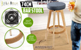 2x Oak Wood Bar Stool 74cm Fabric OLIVIA - GREY