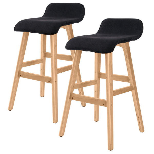 2x Oak Wood Bar Stool 65cm Fabric SOPHIA - BLACK