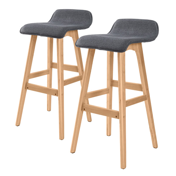 2x Oak Wood Bar Stool 74cm Fabric SOPHIA - GREY