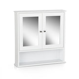 Bathroom Tallboy Storage Cabinet with Mirror - White