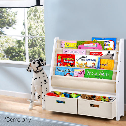 4-Tier-Wooden-Kids-Bookshelf---White-FURNI-G-TOY111-WH-afterpay-zippay-oxipay