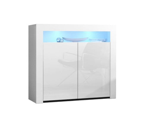Buffet Sideboard Cabinet LED High Gloss Storage Cupboard 2 Doors - White