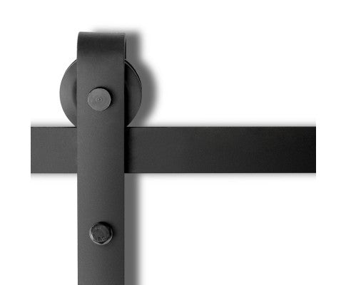 Sliding Barn Door Hardware Track Set Powder Coat Steel Black - 4M