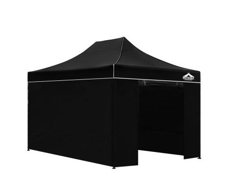 3x4.5 Pop Up Gazebo Hut with Sandbags Black