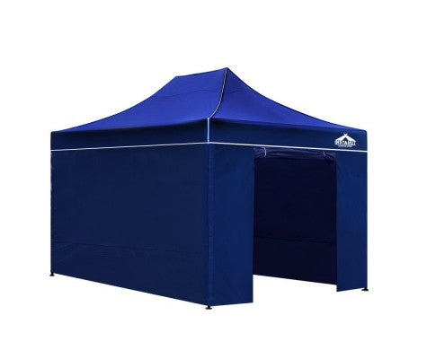Instahut Gazebo Pop Up Marquee 3x4.5m Folding Wedding Tent Gazebos Shade Blue