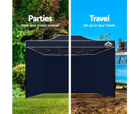 Instahut Gazebo Pop Up Marquee 3x4.5m Folding Wedding Tent Gazebos Shade Navy