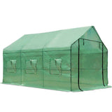 Greenhouse with Green PE Cover - 3.5M x 2M