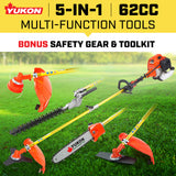 Tradesman 62cc Petrol Multi Tool Chainsaw Line Garden Trimmer - Gold