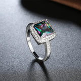 Pav'e Classic Emerald Cut Ring in 18K White Gold