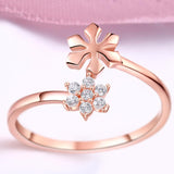Sterling Silver Swarovski Crystal Floral Adjsutable Ring