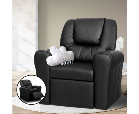 Luxury Kids Recliner Sofa Children Lounge Chair PU Couch Armchair - Black