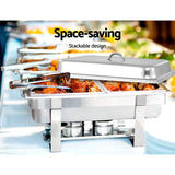 9L Bain Marie Chafing Dish 4.5Lx2 Stainless Steel Buffet Food Stackable