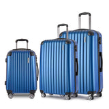 Set of 3 Hard Shell Travel Luggage with TSA Lock - Blue