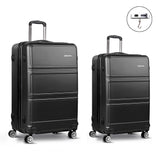 "2 Piece Lightweight Hard Suit Case Luggage  - 20"" & 28"" Black"