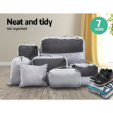 7PCS Grey Luggage Organiser Suitcase Sets Travel Packing Cubes Pouch Bag