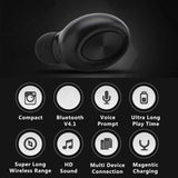 Mini Bluetooth Earbud, Handsfree, Noise Cancelling, Smallest Wireless Earphone with Mic, Wireless Magnetic Charger, compatible with Android, iPhone