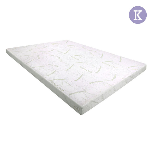 Cool Gel Memory Foam Mattress Topper w/ Bamboo Fabric Cover 8cm King