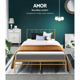 Metal Bed Frame King Single Size Mattress Base Platform Foundation Wooden Gold Amor