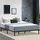 Metal Bed Frame King Size Mattress Base Platform Foundation Wooden Black TED