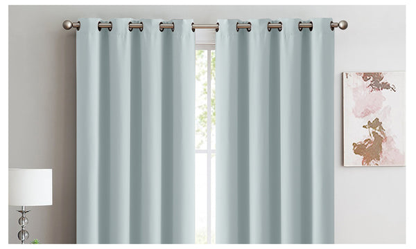 2X 100% Blockout Curtains Panels 3 Layers Eyelet MINERAL GREEN 300X230cm