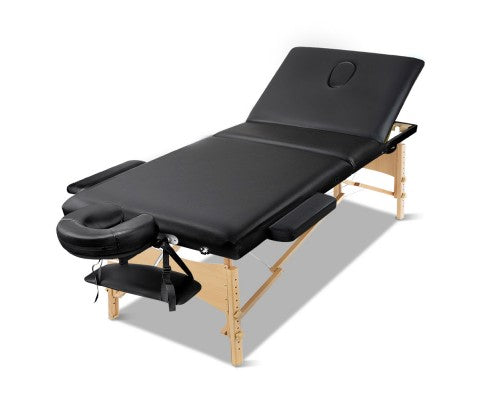 Zenses 3 Fold Portable Wood Massage Table - Black