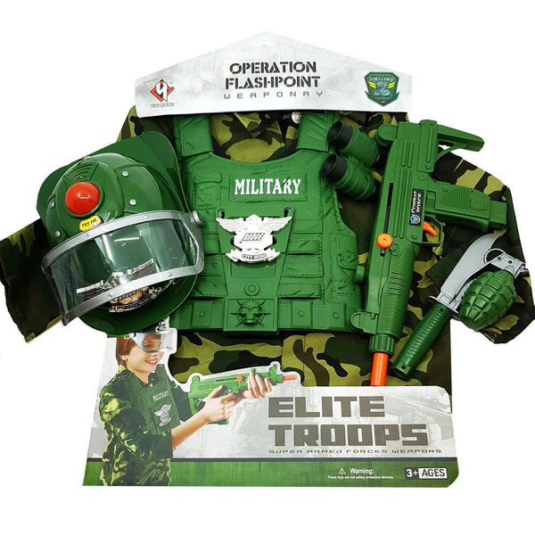 Kids Military Dress Up Costume and Accessories Play Set