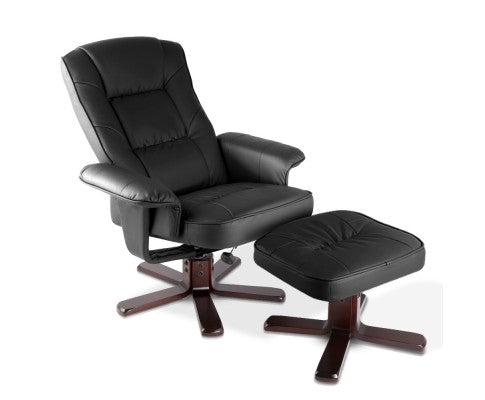 PU Leather Wood Armchair Recliner - Black