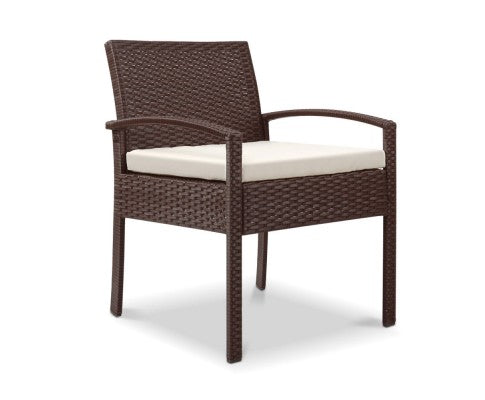 Outdoor Chairs Wicker Dining Chair Patio Garden Furniture Lounge Bistro Set Cafe Cushion Gardeon Brown