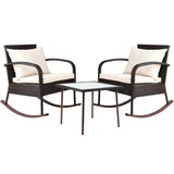 3 Piece Outdoor Rocking Set - Brown