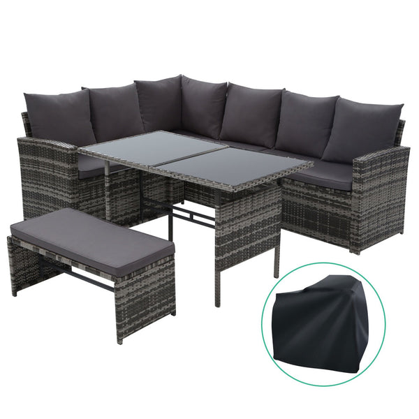 Outdoor Furniture Sofa Set Dining Setting Wicker 8 Seater Storage Cover Mixed Grey