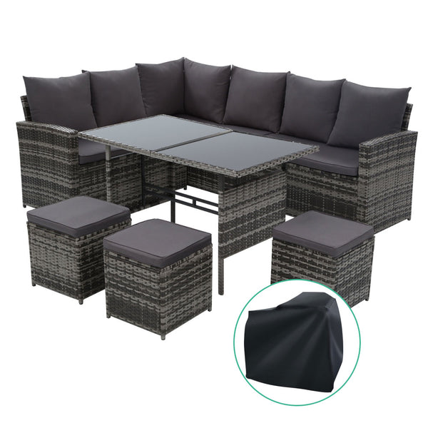 Outdoor Furniture Sofa Set Dining Setting Wicker 9 Seater Storage Cover Mixed Grey