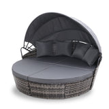 Outdoor Lounge Setting Patio Furniture Sofa Wicker Garden Rattan Cushion Grey