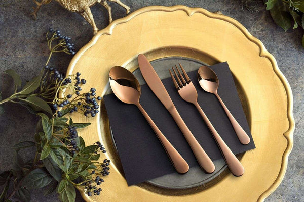 16 Piece Rose Gold Stainless Steel Cutlery Set