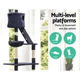 Cat Tree 260cm Trees Scratching Post Scratcher Tower Condo House Furniture Wood Blue