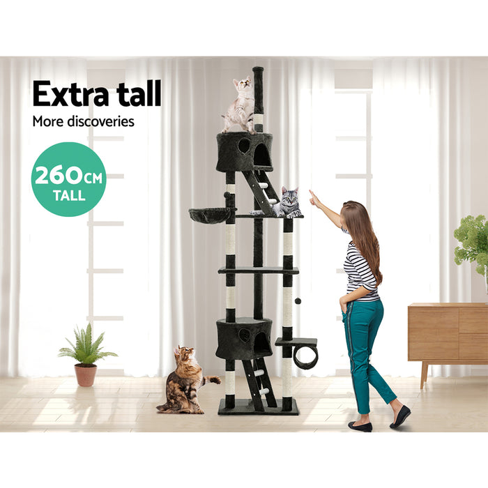 Cat Tree 260cm Trees Scratching Post Scratcher Tower Condo House Furniture Wood
