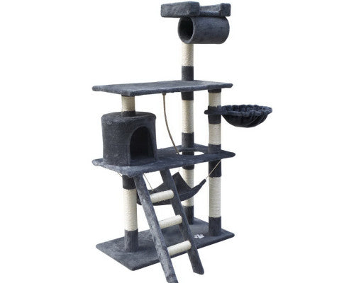 Cat Tree 141cm Trees Scratching Post Scratcher Tower Condo House Furniture Wood