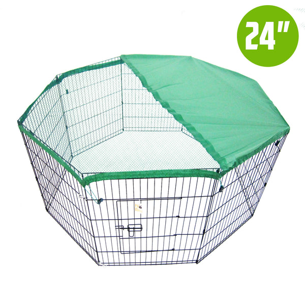 "8 Panel Foldable Pet Playpen 24"" w/ Cover - GREEN"