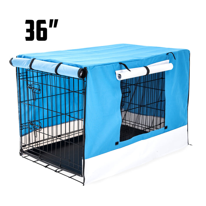 Foldable Metal Wire Dog Cage w/ Cover - BLUE 36""