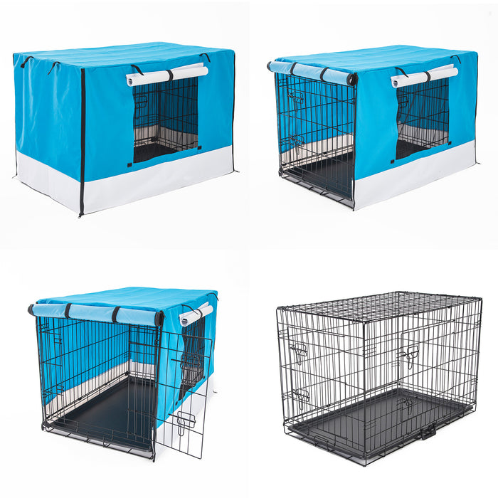 "Foldable-Metal-Wire-Dog-Cage-w/-Cover---BLUE-36""-NXM-PET-WCCV36-BU-afterpay-zippay-oxipay"