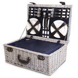 6-Person Wicker Picnic Basket Blue